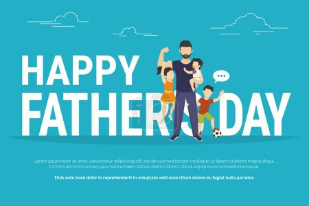 Illustration for Happy fathers day flat conceptual illustration for greeting card or congratulations banner. Happy father with kids standing near big letters - Royalty Free Image