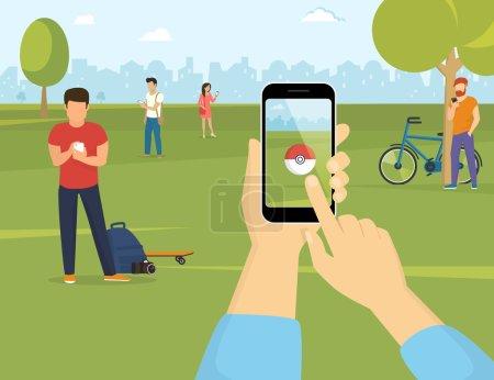 Illustration pour Illustration plate de personnes utilisant des smartphones pour attraper des pokémon dans le parc. Main humaine tient un smartphone avec application pokémon pour jouer à un jeu de réalité augmentée - image libre de droit