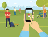 Flat illustration of people using smartphones to catch pokemons in the park Human hand holds a smartphone with pokemon app to play augmented reality game