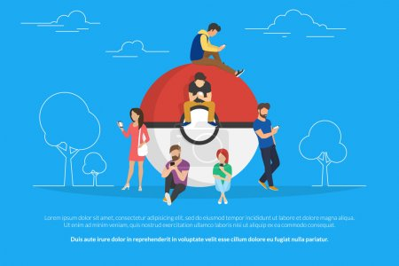 Pokemon concept illustration of young people using...