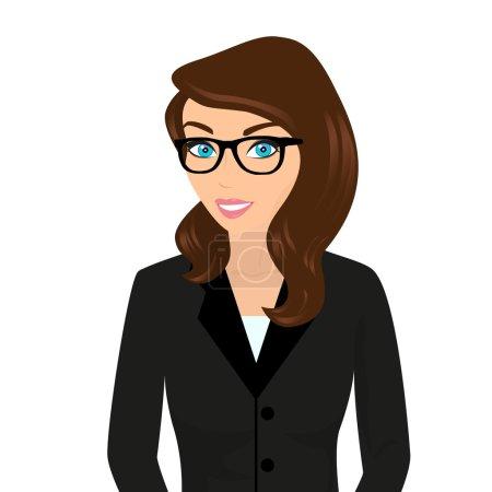 Illustration pour Femme d'affaires portant des cheveux bruns et des lunettes modernes. Isolé sur blanc - image libre de droit