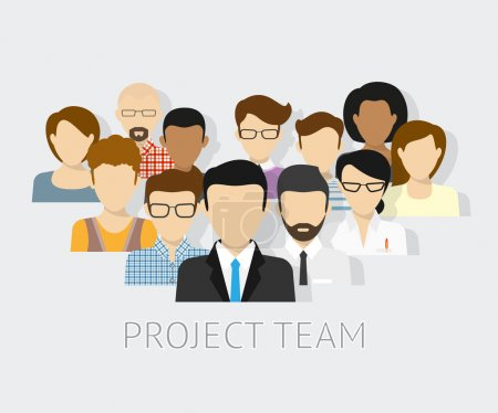 Vector illustration of project team. Flat avatars...