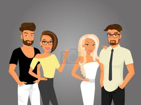 Illustration pour Hipster gars et leurs jolies copines sortent - image libre de droit