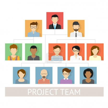 Illustration for Vector illustration of project team organization. Flat avatars - Royalty Free Image