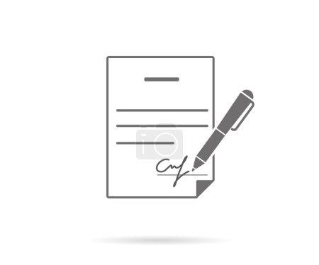 Illustration pour Contrat d'affaires avec signature. Icône vectorielle plate - image libre de droit