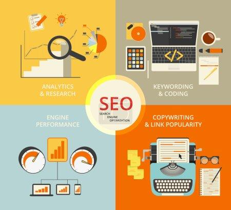 Illustration pour Infographie illustration de concept plat de Seo. 4 éléments décrits - image libre de droit