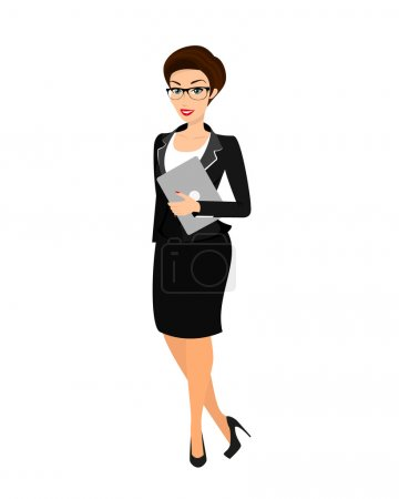 Business woman wearing black suit