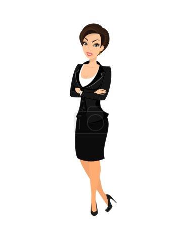 Illustration pour Femme d'affaires en costume noir. Isolé sur blanc - image libre de droit