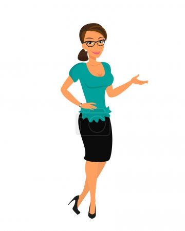 Illustration for Brunette woman wearing glasses and showing something. Isolated on white - Royalty Free Image