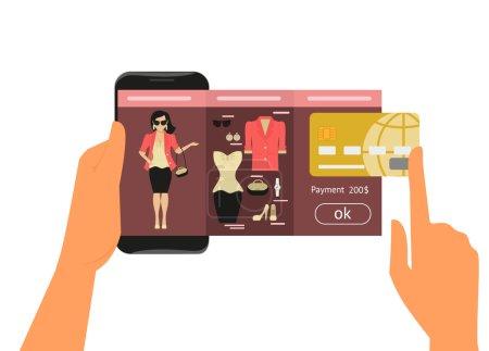 Illustration pour Application mobile pour les femmes achats en ligne de robe de mode - image libre de droit