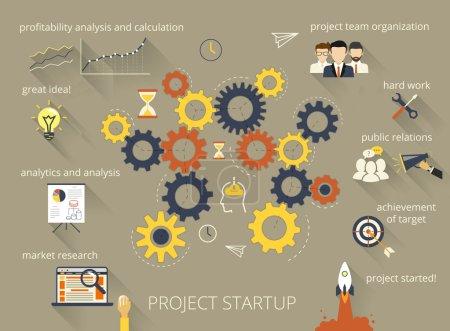 Illustration pour Illustration infographique du processus de démarrage du projet avec engrenage - image libre de droit