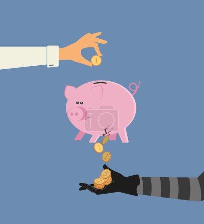 Vector illustration of money stealing from bank de...