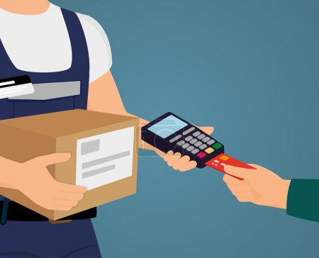 Illustration for Payment by credit card for express delivery - Royalty Free Image