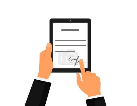 Illustration pour Contrat d'affaires avec signature sur tablette pc. Icône vectorielle plate - image libre de droit