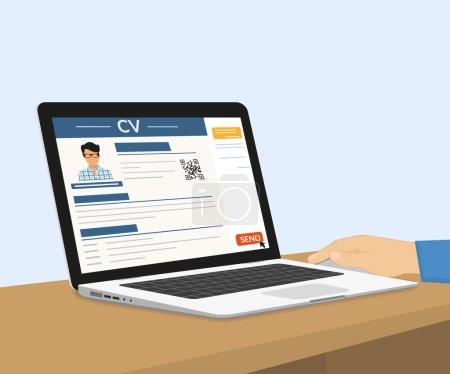 Illustration pour Man envoie son CV par e-mail. Illustration vectorielle avec ordinateur portable - image libre de droit