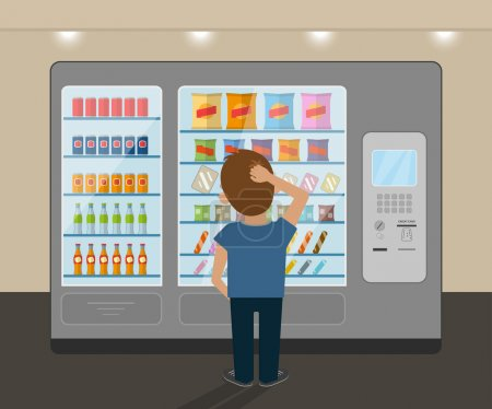 Illustration for Young man is choosing a snack at vending machine - Royalty Free Image