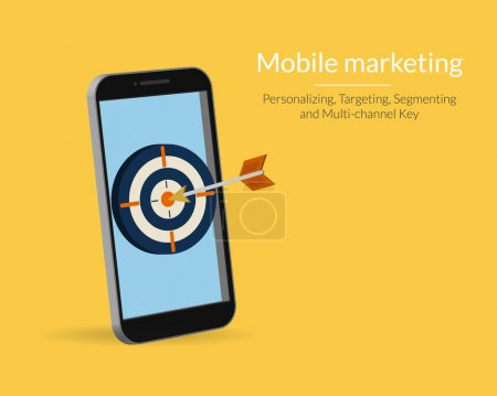 Illustration for Mobile marketing and targeting. Smartphone with dartboard in the screen. Text outlined, free font Lato - Royalty Free Image