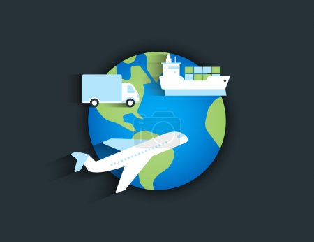 Illustration for Global delivery icon with airplane, ship and truck on the planet - Royalty Free Image