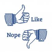 Set of two hands gestures