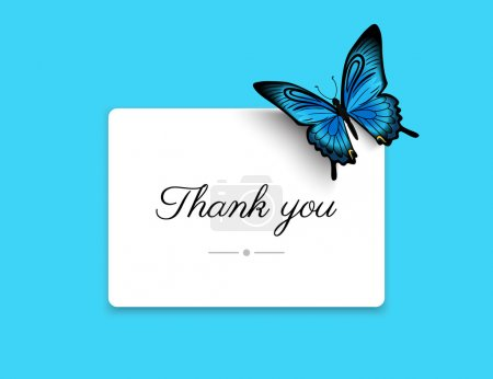 Illustration for Thank you blank card with beautiful blue butterfly. Text outlined - Royalty Free Image