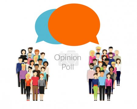 Opinion poll flat illustration of two groups of pe...