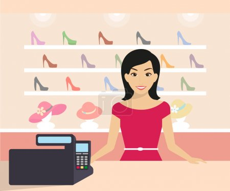 Illustration pour Une femme amicale travaille dans le magasin de chaussures. Illustration moderne plate - image libre de droit