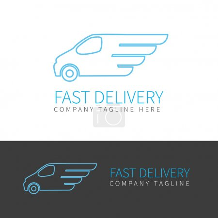Photo for Contour logo of fast delivery van in two colors - Royalty Free Image