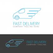 Contour logo of fast delivery van in two colors