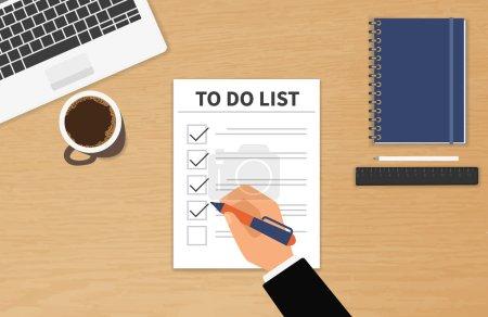 Illustration pour Homme d'affaires assis à son bureau et remplissant sa liste de contrôle de travail - image libre de droit