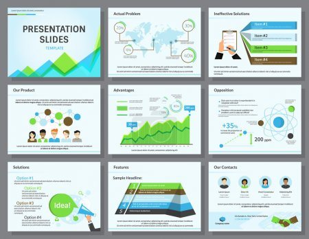 Illustration for Business infographics presentation slides template with flat illustrations of people, consulting, diagrams and chart - Royalty Free Image