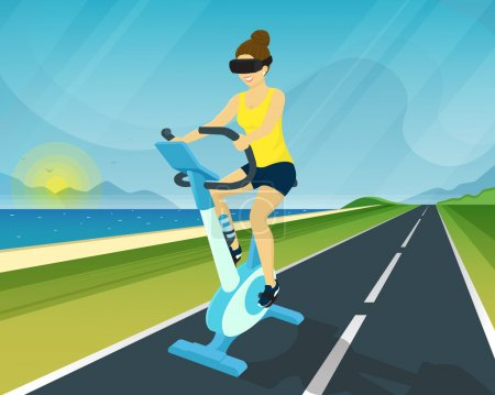 Woman is riding exercise bike through using head-mounted device for virtual reality