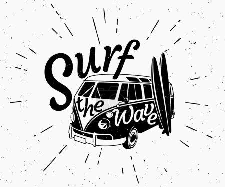 Van surf retro black and white illustration