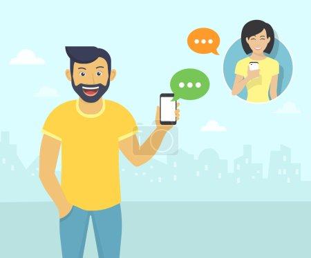 Illustration pour Happy guy wearing beard is sending messages via messenger app to young girl. Illustration plate de la communication des gens avec des bulles de sms - image libre de droit