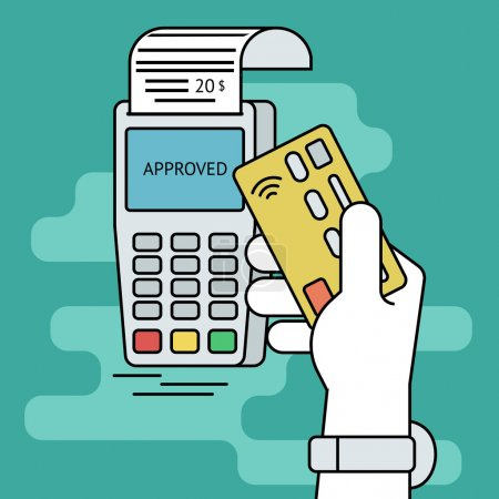 Illustration for Illustration of wireless mobile payment by credit card. Human line contour hand holds a credit card and taps it to the payment terminal - Royalty Free Image