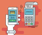 Illustration of mobile payment via smartphone
