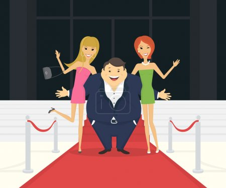 Photo for Fat famous man with his thin girlfriends on the red carpet as celebrities. Flat conceptual illustration of superstar and celebrity persons going to the luxury event - Royalty Free Image