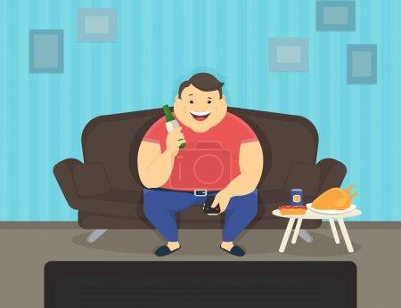 Dicker Mann sitzt zu Hause auf dem Sofa vor dem Fernseher und trinkt Bier