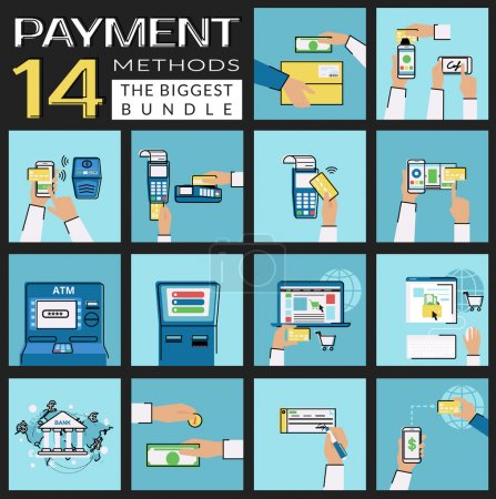 Illustration for Flat icons set of payment methods such as credit card, nfc, mobile app, atm and terminal, wireless payment, website and electronic money, bank transfer, cash and invoice, delivery and mobile acquiring - Royalty Free Image