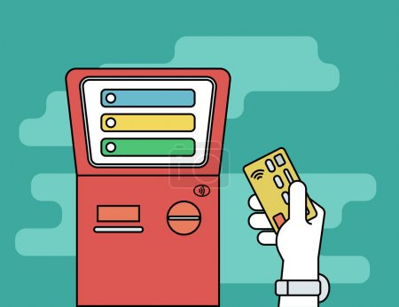 Illustration for Human hand with credit card getting access to payment terminal. Flat line contour illustration of payment via credit card - Royalty Free Image