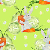 Rabbit with vegetables seamless pattern