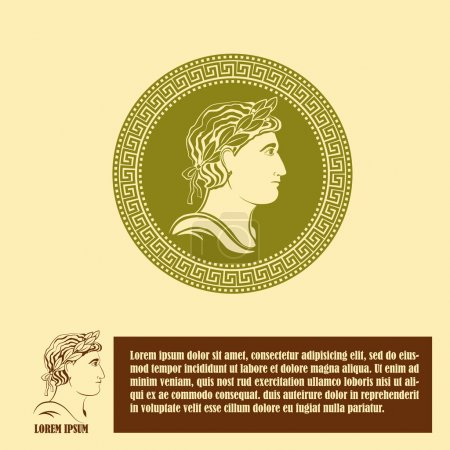 Illustration for Ancient profile of man logo design template. Corporate icon such as logotype. Graphic outline image of man head classical Greek or Roman style. Vector - Royalty Free Image