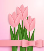 Pink paper tulips card