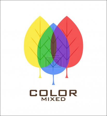 Primary color leaves logo design template