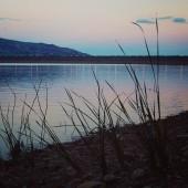 Lake Nicoletti coast near Enna, Sicily. Aged photo