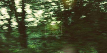 Photo pour Arbres déconcentrés vus à travers un pare-brise de voiture - photographie de filtre vintage. Action floue de la voiture à grande vitesse. Vue floue à travers la fenêtre mobile de la voiture. Anneau de Kerry, Irlande . - image libre de droit