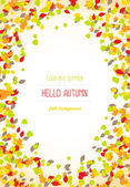 Hello autumn Falling leaves Copy space for text