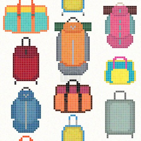 Illustration for Various Bag types. Pixel art. Seamless pattern. Hipster handbags, women purses, casual bags, trekking rucksacks with sleeping pads. Travel equipment and accessories. - Royalty Free Image
