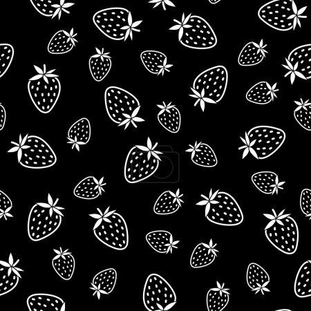 Illustration pour Texture abstraite de fraise, fond de baies sans fin. Ornement de fruits sans fin. Modèle sans couture avec des fraises rayées, fond de récolte d'été. Fond de dessert. Modèle de fond monochrome . - image libre de droit
