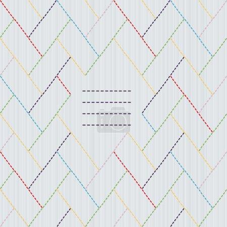 Illustration pour Décoration de broderie japonaise traditionnelle avec tissage coloré et cadre texte. Motif Sashiko stylisé - clôture cyprès (higaki). Fond vectoriel abstrait. Texture des aiguilles. Peut être utilisé comme motif sans couture . - image libre de droit