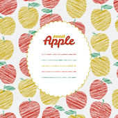 Text frame Autumn harvest background Repeating backdrop with scratched apples Endless fruit texture Dessert texture Green and red apple template Can be used as seamless pattern